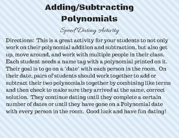 Adding and Subtracting Polynomials Speed Dating Activity