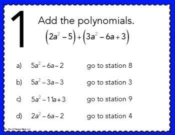 Add and Subtract Polynomials Stations Maze Activity by Mrs E Teaches ...