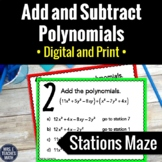 Add and Subtract Polynomials Activity   Digital and Print