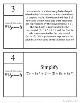 Adding and Subtracting Polynomials Task Activity