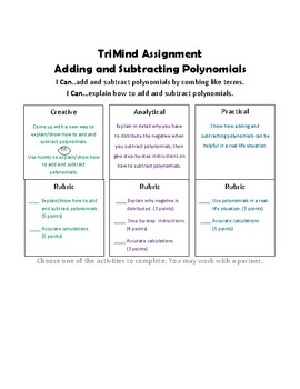 Adding and Subtracting Polynomials - TriMind  Activity