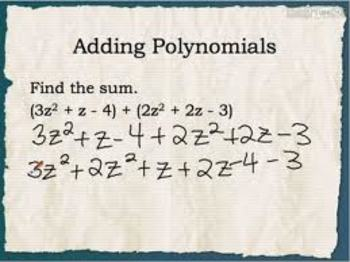Adding and Subtracting Polynomials Worksheet (20 Q)