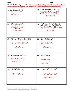 Adding and Subtracting Polynomials Worksheet by Maya ...