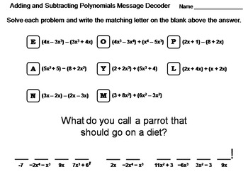 adding and subtracting polynomials worksheet math message decoder - Adding Polynomials Worksheet