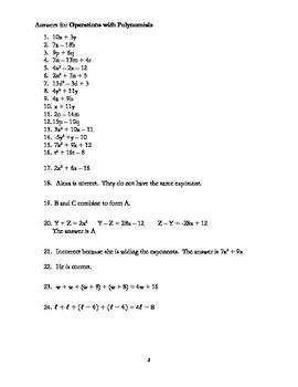 Adding and Subtracting Polynomials with Common Core