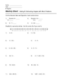 Adding and Subtracting Positive / Negative Numbers Worksheet w/ Word Problems