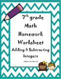 Adding and Subtracting Positive and Negative Integers Homework