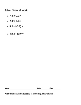 Integers 08 - Adding and Subtracting Positive and Negative Integers Practice