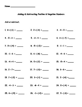 Adding and Subtracting Positive and Negative Numbers Worksheet by ...