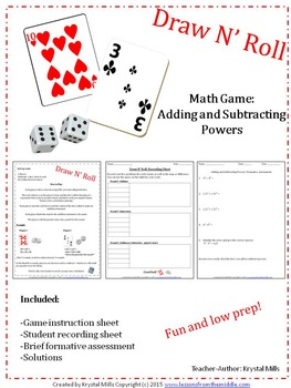 Adding and Subtracting Powers: Draw N' Roll (A Math game for grade 8 and 9)
