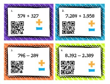 Adding and Subtracting QR Code Task Cards - 4.NBT.4