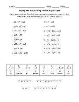 Adding and Subtracting Radical Expressions - Puzzle