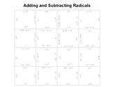 Adding and Subtracting Radicals Fun Square Puzzle