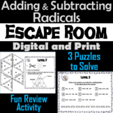 Adding and Subtracting Radicals Game: Algebra Escape Room Math Activity