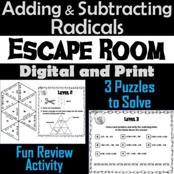 Adding and Subtracting Radicals Game: Algebra Escape Room Math Activity