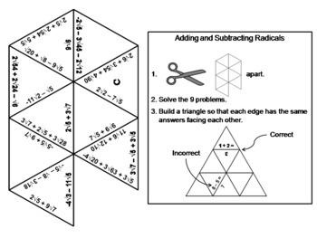 Adding and Subtracting Radicals Game: Math Tarsia Puzzle