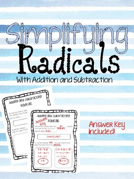 Adding and Subtracting Radicals Guided Notes