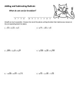 adding and subtracting radicals joke worksheet - Adding And Subtracting Radicals Worksheet