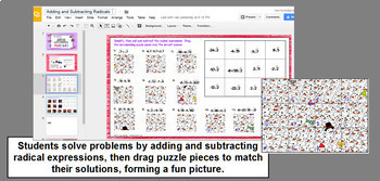 Adding and Subtracting Radicals Matching Activity and Puzzle in GOOGLE Slides