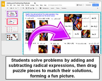 Adding and Subtracting Radicals Matching Activity and Puzzle in GOOGLE Slides™