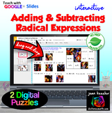 Adding and Subtracting Radicals Matching Activity and Puzzles in GOOGLE Slides™