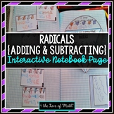 Adding and Subtracting Radicals (Square Roots) Interactive Notebook Page