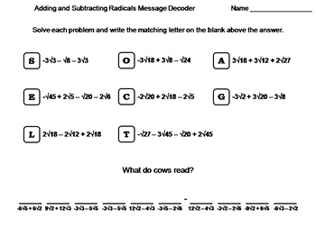 adding and subtracting radicals worksheet math message decoder - Adding And Subtracting Radicals Worksheet