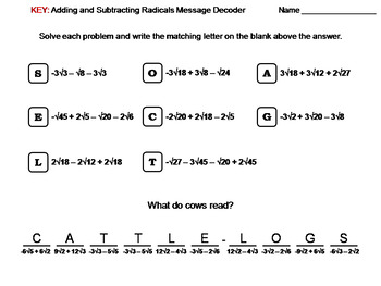 Adding and Subtracting Radicals Worksheet: Math Message Decoder
