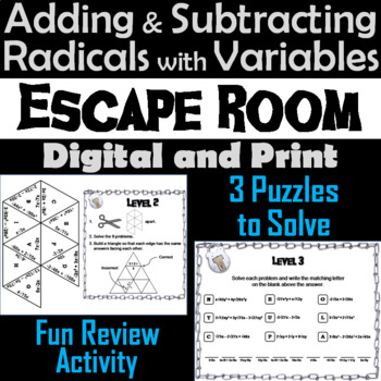 Adding and Subtracting Radicals with Variables Game: Algebra Escape Room Math