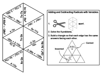Adding and Subtracting Radicals with Variables Game: Math Tarsia Puzzle