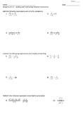 Adding and Subtracting Rational Expressions - Assignment