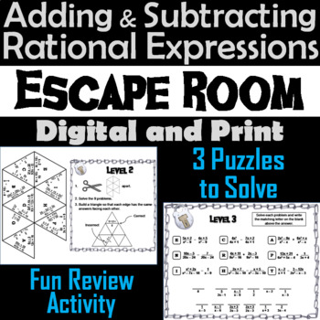 Adding and Subtracting Rational Expressions Game: Algebra Escape Room Math
