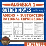 Adding and Subtracting Rational Expressions - Interactive Notebook Activities