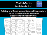 Adding and Subtracting Rational Expressions Math Maze