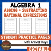 Adding and Subtracting Rational Expressions - Student Prac