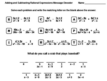 adding and subtracting rational expressions worksheet math message decoder - Adding And Subtracting Rational Expressions Worksheet