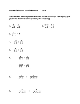 Adding and Subtracting Rational Expressions worksheet | TpT