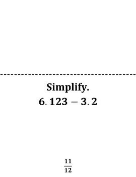 Decimal & Fraction Addition and Subtraction Scavenger Hunt Game