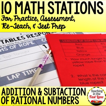 Adding and Subtracting Rational Numbers Test Prep Math Stations