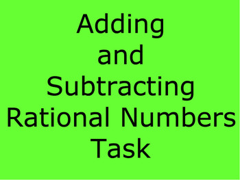 Adding and Subtracting Rational Numbers - A Thief in the Night