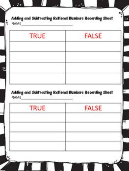 Adding and Subtracting Rational Numbers: A True / False Sort