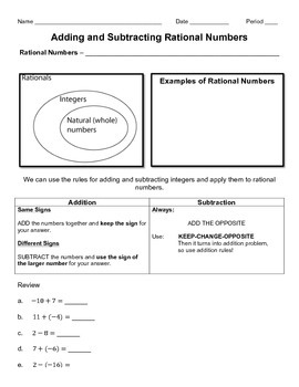 Adding and Subtracting Rational Numbers - Complete Lesson