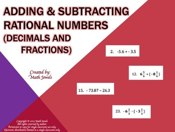 Adding and Subtracting Rational Numbers (Decimals and Fractions)