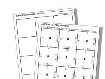 Adding and Subtracting Rational Numbers:Fractions, Student Puzzle