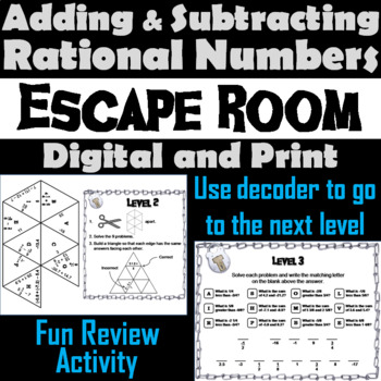 Adding and Subtracting Rational Numbers Game: Escape Room Math Activity