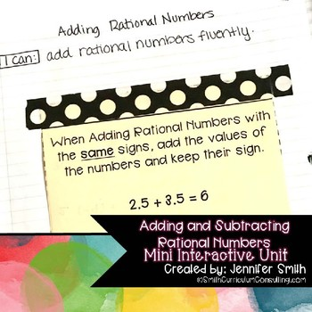Adding and Subtracting Rational Numbers (Integers) Mini Interactive Unit