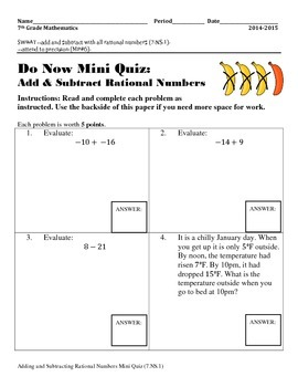 Adding and Subtracting Rational Numbers Mini Quiz (7.NS.1)