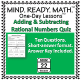 Adding and Subtracting Rational Numbers Quiz