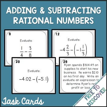 Adding and Subtracting Rational Numbers Activity - Task Cards