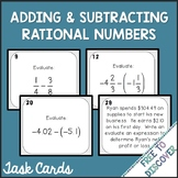Adding and Subtracting Rational Numbers Task Cards Activity